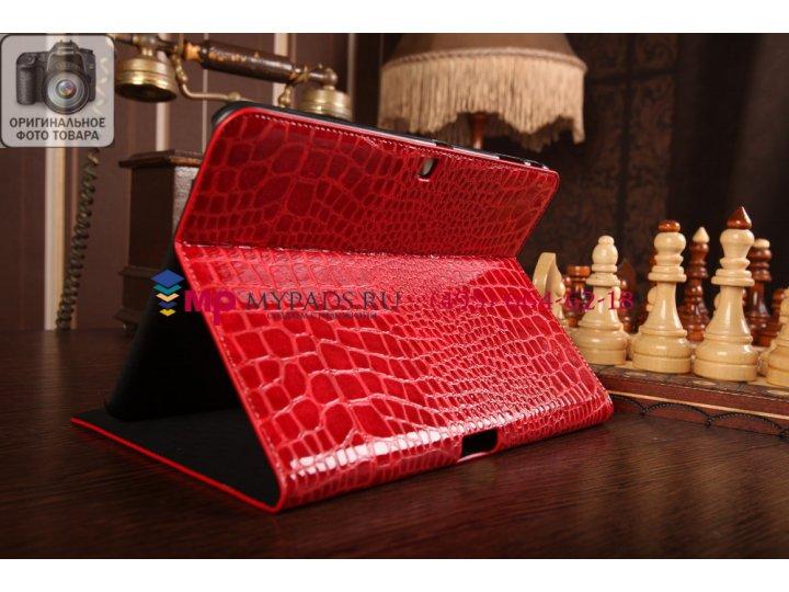 Фирменный чехол для Samsung Galaxy Tab 4 10.1 SM-T530/T531/T535 кожа крокодила алый огненный красный..
