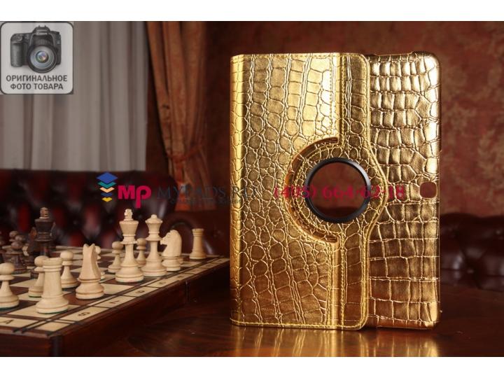 Эксклюзивный фирменный чехол для Samsung Galaxy Tab 4 10.1 SM-T530/T531/T535 кожа крокодила золотой. Только у ..