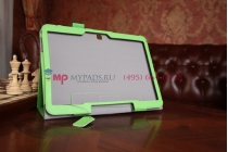 """Фирменный чехол-сумка бизнес класса для Samsung Galaxy Tab 4 10.1 SM-T530/T531/T535 с визитницей и держателем для руки зеленый натуральная кожа """"Prestige"""" Италия"""