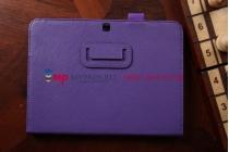 """Фирменный чехол бизнес класса для Samsung Galaxy Tab 4 10.1 с визитницей и держателем для руки фиолетовый натуральная кожа """"Prestige"""" Италия"""