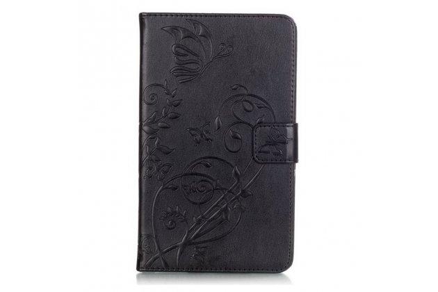 """Чехол обложка для Samsung Galaxy Tab 4 7.0 SM-T230/T231/T235 с визитницей и держателем для руки черный натуральная кожа """"Prestige"""" Италия с красивым узором"""