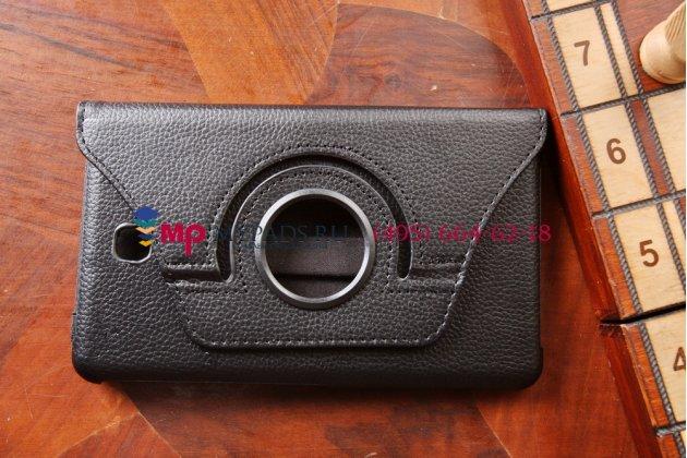 Фирменный чехол для Samsung Galaxy Tab 4 7.0 поворотный роторный оборотный черный кожаный