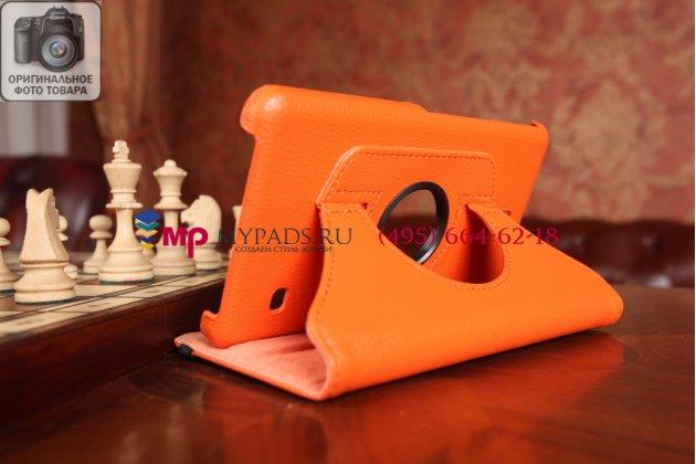 Фирменный чехол для Samsung Galaxy Tab 4 7.0 SM-T230/T231/T235 поворотный оранжевый кожаный