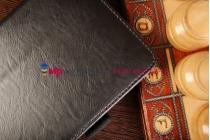 """Чехол обложка для Samsung Galaxy Tab 4 7.0 SM-T230/T231/T235 с визитницей и держателем для руки черный натуральная кожа """"Prestige"""" Италия"""