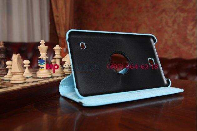 Фирменный чехол для Samsung Galaxy Tab 4 7.0 SM-T230/T231/T235 поворотный голубой кожаный