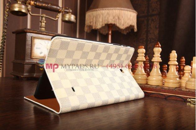 Чехол-книга футляр для Samsung Galaxy Tab 4 8.0 в клетку белый кожаный