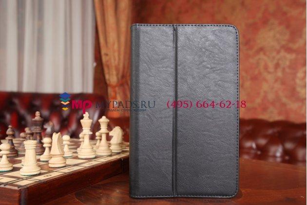 """Фирменный чехол бизнес класса для Samsung Galaxy Tab 4 8.0 SM-T330/T335 с визитницей и держателем для руки черный натуральная кожа """"Prestige"""" Италия"""