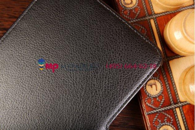 """Фирменный чехол открытого типа без рамки вокруг экрана с мульти-подставкой для Samsung Galaxy Tab 4 8.0 дюймов черный кожаный """"Deluxe"""""""