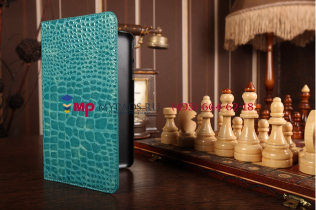 Фирменный чехол-футляр для Samsung Galaxy Tab 4 8.0 SM-T330/T331/T335 лаковая кожа крокодила цвет морской волны бирюзовый