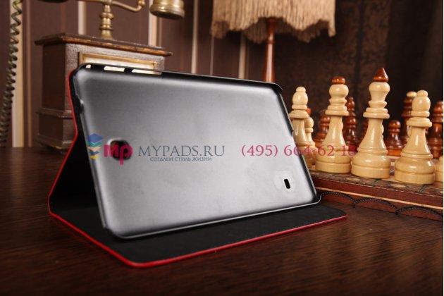 Фирменный чехол для Samsung Galaxy Tab 4 8.0 SM-T330/T331/T335 лаковая кожа крокодила алый огненный красный