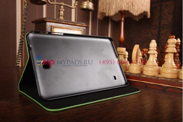 Лаковая блестящая кожа под крокодила чехол для Samsung Galaxy Tab 4 8.0 SM-T330/T331/T335 зеленый