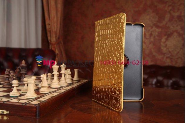 Эксклюзивный фирменный чехол для Samsung Galaxy Tab 4 8.0 кожа крокодила золотой. Только в нашем магазине. Количество ограничено