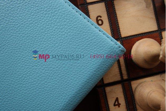 Фирменный роторный оборотный чехол для Samsung Galaxy Tab 4 8.0 SM-T330/T335 поворотный голубой кожаный