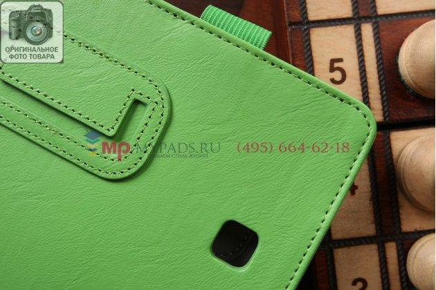"""Фирменный чехол бизнес класса для Samsung Galaxy Tab 4 8.0 SM-T330/T335 с визитницей и держателем для руки зеленый натуральная кожа """"Prestige"""" Италия"""