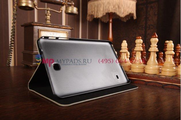 Фирменный чехол-книжка для Samsung Galaxy Tab 4 8.0 SM-T330/T331/T335 лаковая кожа крокодила серый