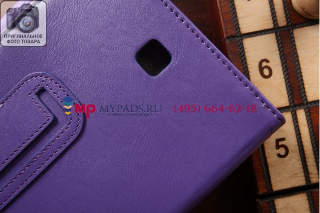 """Фирменный чехол бизнес класса для Samsung Galaxy Tab 4 8.0 SM-T330/T335 с визитницей и держателем для руки фиолетовый натуральная кожа """"Prestige"""" Италия"""