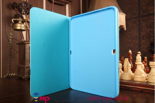 """Фирменный эксклюзивный необычный чехол-футляр для Samsung Galaxy Tab 4 10.1 SM-T530/T531/T535  """"тематика Совы"""" голубой"""