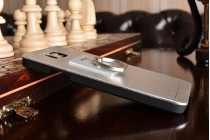 Фирменная металлическая задняя панель-крышка-накладка из тончайшего облегченного авиационного алюминия для Samsung Galaxy Alpha SM-G850F серебристая