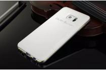 Фирменная роскошная элитная задняя панель-крышка на металлической основе обтянутая импортной кожей прошитой стёганым узором для Samsung Galaxy Note 4 королевский белый