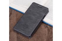 """Фирменный премиальный элитный чехол-книжка из качественной импортной кожи с мульти-подставкой и визитницей для Samsung Galaxy A3 (2017) SM-A320F 4.7  """"Ретро"""" темно серый"""