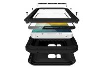 Неубиваемый водостойкий противоударный водонепроницаемый грязестойкий влагозащитный ударопрочный фирменный чехол-бампер для Samsung Galaxy Note 5 N920 черный цельно-металлический со стеклом Gorilla Glass