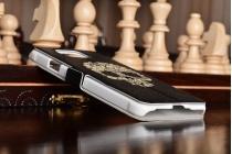 Фирменный чехол-книжка с безумно красивым расписным рисунком черепа наSamsung Galaxy Alpha SM-G850F с окошком для звонков