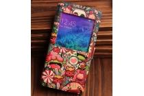 Фирменный чехол-книжка с безумно красивым расписным кислотным-мульти-рисунком на Samsung Galaxy Alpha SM-G850F с окошком для звонков