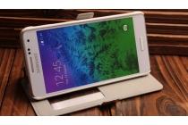 """Фирменный чехол-книжка с рисунком на тему """"Ретро Британский флаг"""" на Samsung Galaxy Alpha SM-G850F  с окошком для звонков"""