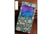 Фирменный чехол-книжка с безумно красивым расписным рисунком Оленя в цветах на Samsung Galaxy Alpha SM-G850F  с окошком для звонков