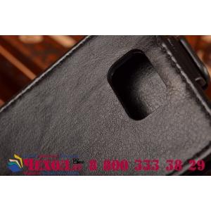 Фирменный оригинальный вертикальный откидной чехол-флип для Samsung Galaxy Alpha SM-G850F черный кожаный