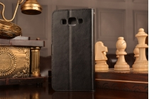 Фирменный чехол-книжка из качественной импортной кожи с подставкой застёжкой и визитницей для Samsung Galaxy A5/ Самсунг Гелакси А5 черный