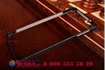 Фирменный оригинальный ультра-тонкий чехол-бампер для Samsung Galaxy Alpha SM-G850F черный металлический