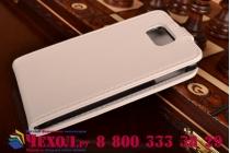 Фирменный оригинальный вертикальный откидной чехол-флип для Samsung Galaxy Alpha SM-G850F белый кожаный
