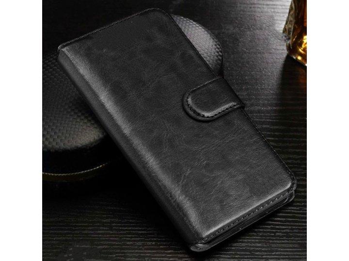 Фирменный чехол-книжка из качественной импортной кожи для Samsung Galaxy Core 2 SM-G355H черный..