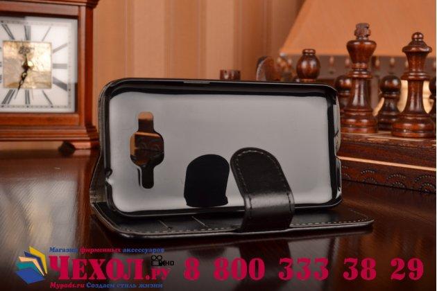Фирменный чехол-книжка из качественной импортной кожи с мульти-подставкой застёжкой и визитницей для Самсунг Галакси Кор Прайм 360  черный