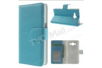 Фирменный чехол-книжка из качественной импортной кожи для Samsung Galaxy Core 2 SM-G355H бирюзовый