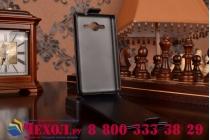 """Фирменный оригинальный вертикальный откидной чехол-флип для Samsung Galaxy Core 2 G355h черный кожаный """"Prestige"""" Италия"""