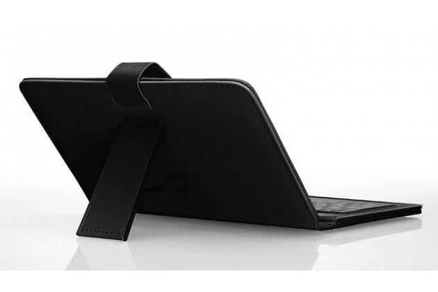 Фирменный чехол со встроенной клавиатурой для телефона Samsung Galaxy Mega 2 SM-G750F 6.0 дюймов черный кожаный + гарантия