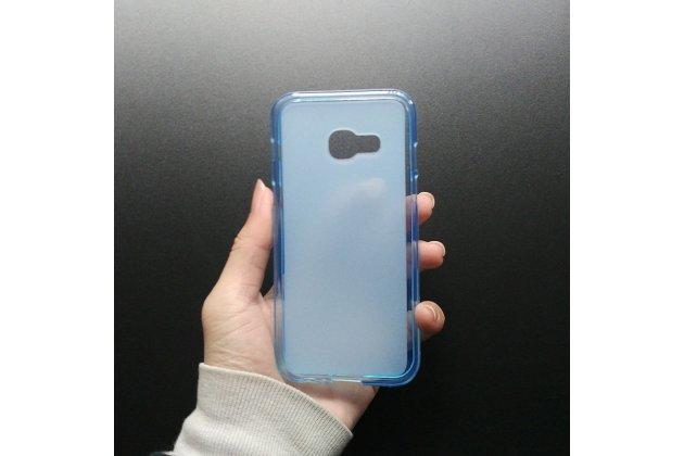 """Фирменная ультра-тонкая полимерная из мягкого качественного силикона задняя панель-чехол-накладка для Samsung Galaxy A3 (2017) SM-A320F 4.7"""" голубая"""