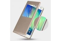 Фирменный оригинальный чехол с логотипом для Samsung Galaxy A3 Flip Cover золотой