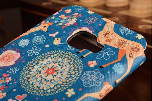 """Фирменный уникальный необычный чехол-книжка для Samsung Galaxy C5 (C5000) 5.2"""" """"тематика Олени в цветах"""" с окошком для выходящих вызовов"""