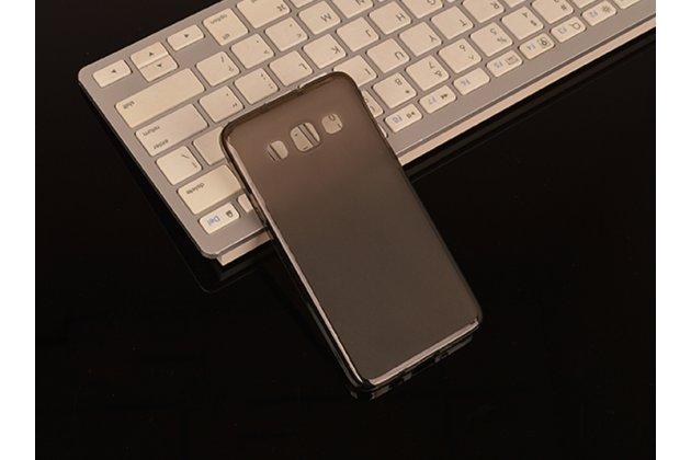 Фирменная ультра-тонкая полимерная из мягкого качественного силикона задняя панель-чехол-накладка для Samsung Galaxy A3 черная полупрозрачная