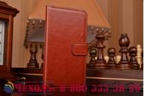 Фирменный чехол-книжка из качественной импортной кожи с мульти-подставкой застёжкой и визитницей для Самсунг Галакси Гэлакси А3 Три коричневый