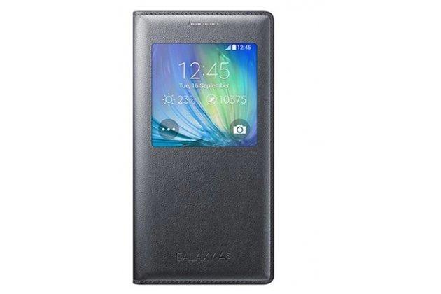 Фирменный оригинальный чехол-книжка для Samsung Galaxy A3 (2016) SM-A310/ A3100/ A310F 4.7 черный кожаный с окошком для входящих вызовов