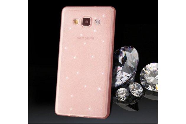 Фирменная роскошная задняя-панель-накладка декорированная кристалликами на Samsung Galaxy A3 SM-A300F/H/YZ розовая
