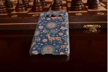 Фирменная роскошная задняя панель-чехол-накладка с безумно красивым расписным рисунком олени в цветах на Samsung Galaxy A3 SM-A300F/H/YZ