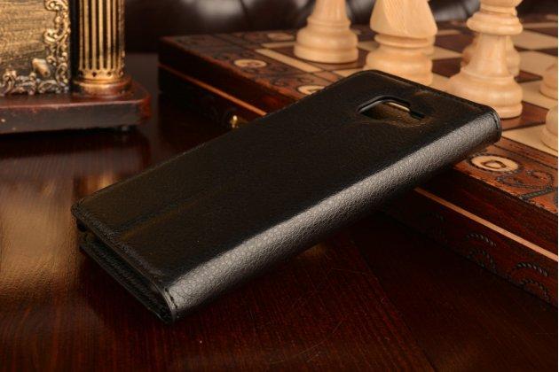 Фирменный чехол-книжка из качественной импортной кожи с подставкой застёжкой и визитницей для Самсунг Гелакси А3 (2016) СМ-310/ А3100 / А310Ф 4.7 /Samsung Galaxy A3 (2016) SM-A310/ A3100/ A310F 4.7 черный