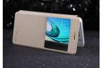 Фирменный оригинальный чехол-книжка для Samsung Galaxy A3 (2016) SM-A310/ A3100/ A310F 4.7 золотой кожаный с окошком для входящих вызовов