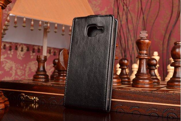 """Фирменный оригинальный вертикальный откидной чехол-флип для  Samsung Galaxy A3 (2016) SM-A310/ A3100/ A310F 4.7"""" черный кожаный"""