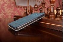 """Фирменный роскошный эксклюзивный чехол с объёмным 3D изображением рельефа кожи крокодила синий для Samsung Galaxy A3 (2016) SM-A310/ A3100/ A310F 4.7"""". Только в нашем магазине. Количество ограничено"""